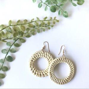 Jewelry - Straw weave earring hoop lightweight cream